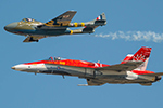In addition to the F-35 Heritage Flight with the P-51D, the CF-18 Hornet flew a heritage flight with the DeHavilland Vampire